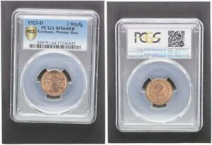 2 Pfennig J.307 Currency Coin 1923 D Mint State PCGS MS64RB (37470)