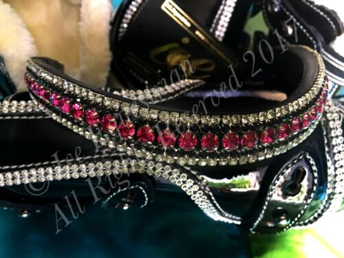 Black /& Clear TOP QUALITY Bling Browband Padded U Shape Dressage Cerise Pink