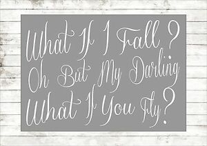 What If I Fall Oh But My Darling Nursery Christening Inspiring