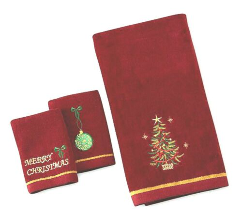 3pc Embroidered Christmas Tree Decorative Bath Set 2 Fingertip Towels Red NWT