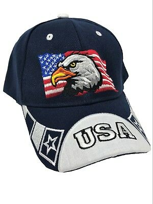 Blue USA American Eagle Flag Star Embroidered Ball Cap Hat Patriotic Strap Back