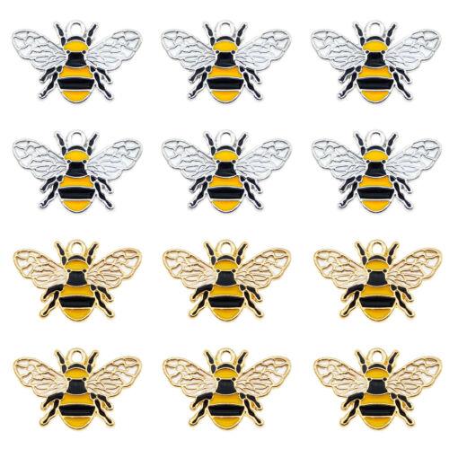 Paquete De 8 Colorido Esmalte Plateado Honeybee encanto colgante hallazgos 26x17 mm