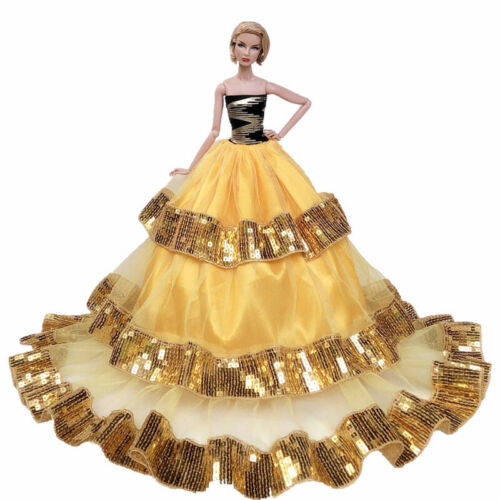 "Gold Sequin Fashion Wedding Dress for 11.5/"" Doll Clothes Big Evening Dresses 1//6"