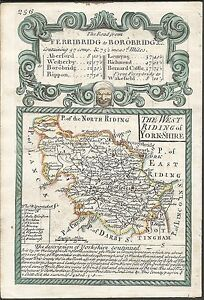 Antique-map-West-Riding-of-Yorkshire-The-Roads-from-Exeter-to-Dorchester