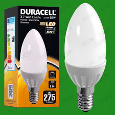 4x 3.7W Dimmable Duracell LED Pearl Candle Instant On Light Bulb SES E14 Lamp