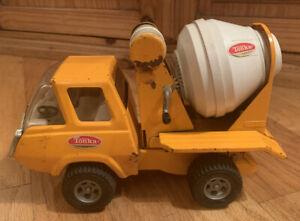 Vintage-Tonka-Pressed-Steel-Orange-Cement-Mixer-Truck-1970-039-s