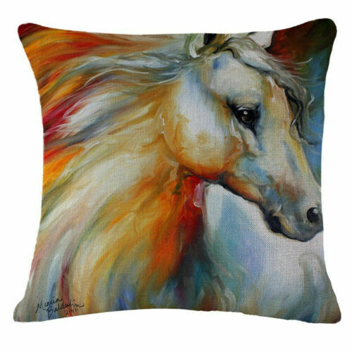 Sofa Home Car Decor Painting Colorful Running Horse Cushion Cover Pillow Case