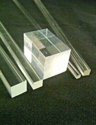 differently ef014 9efad SQUARE CLEAR ACRYLIC ROD SOLID PERSPEX PLASTIC BAR ROD 3MM to 40MM SECTIONS  | eBay