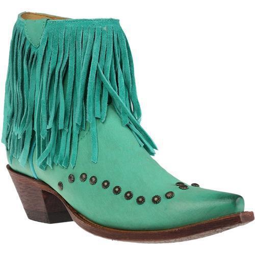 JOHNNY RINGO Femmes Turquoise Nubuck Franges Shortie Bottes JR922-124T Bottines