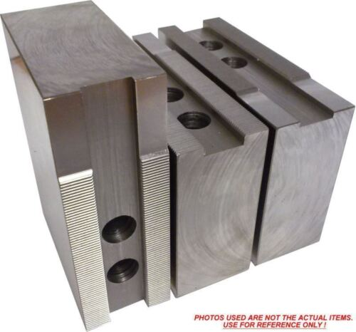 """H3-15408F STEEL SOFT JAWS FOR 3.0mm x 60° SERR 15/"""" CHUCK WITH A 4/"""" HT 3PC SET"""