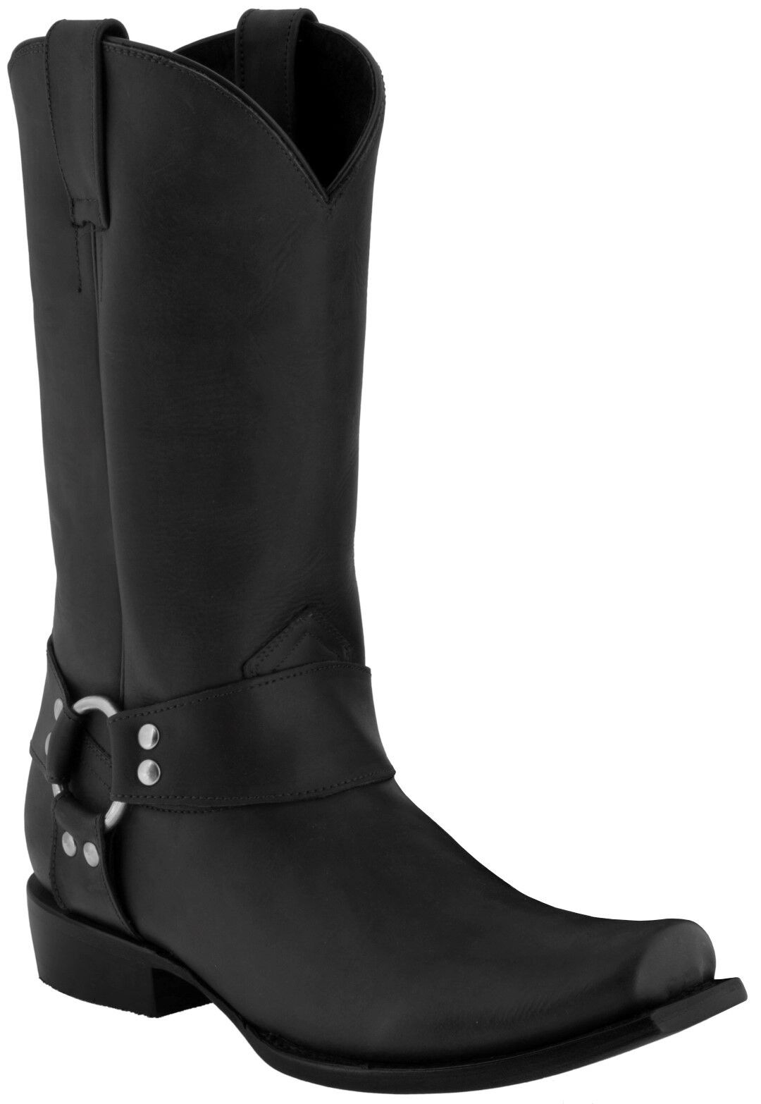 Mens Black Leather Rider Motorcycle Harness Riding Boots Square Toe