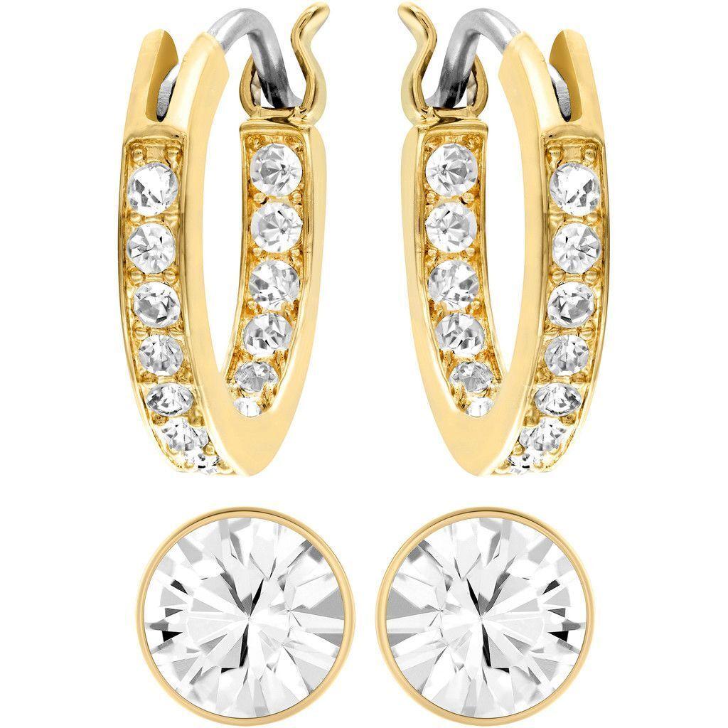 Swarovski Canvas Yellow gold-Tone White Crystal Pierced Earrings Set MIB 5113775