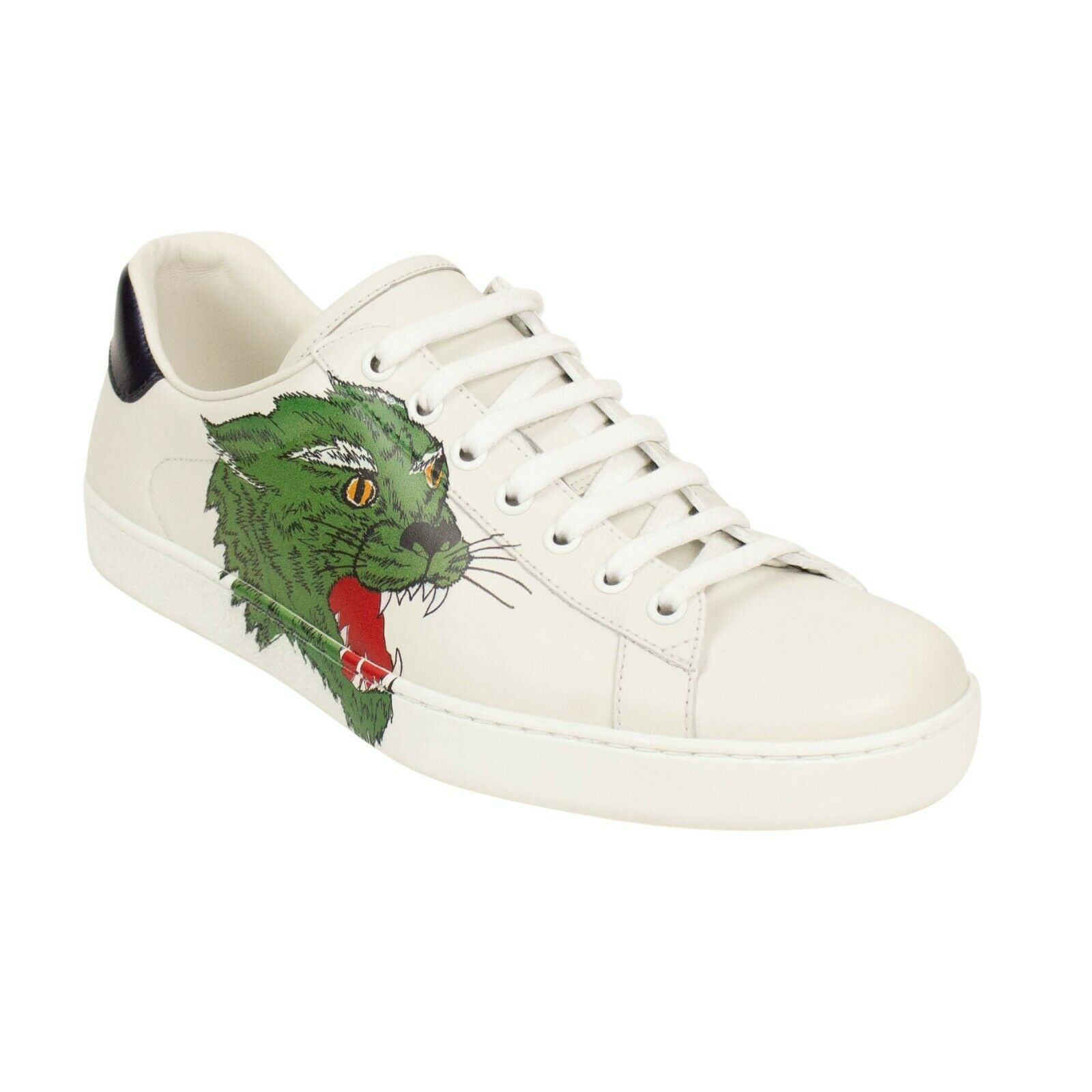 Gucci White Leather Panther Ace Lace up