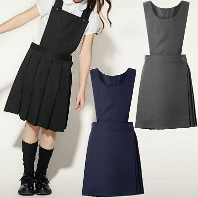 Girls Grey School Uniform Pleat Pinafore Zip Summer Dress 5 to 13 Years