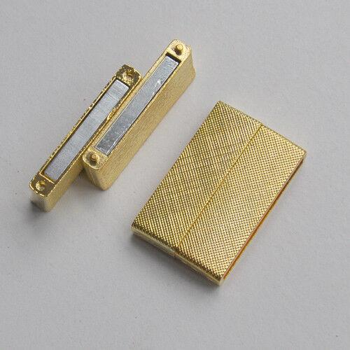 Flacher Rechteck-Magnet-Verschluss Loch 36x3mm in Silber Gold Roségold Platin