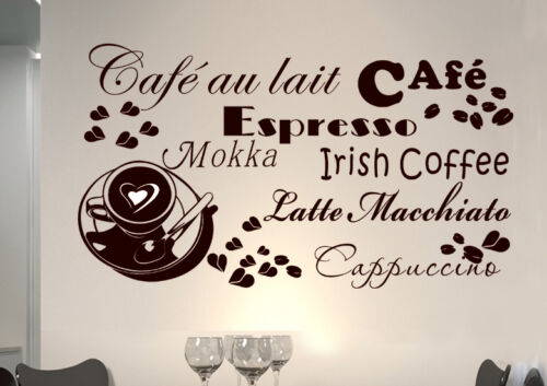 Wall Tattoo Saying Cafe Heart Coffee Coffee Kitchen wkf20