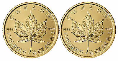 Lot of 2 - 2012 1/2oz Canadian Gold Maple Leaf Coin .9999 Fine BU