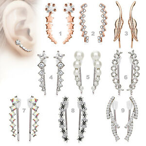 1 Paar Ohrringe Ear Crawler Ohrklemme Kletterer Ohrmanschette Silber Kristalle