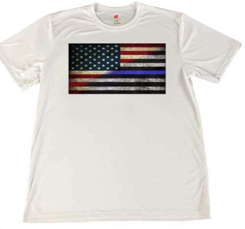 Red White /& Blue Blue Line Flag Wicking T-shirt w Optional Matching Key Ring