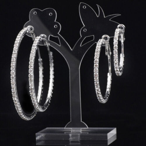 Extra Large Big Diamante Diamonte Round Hoop Sparkle Earrings sparkly bling M