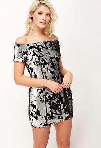 Womens-Black-amp-Silver-Sequin-Short-Sleeve-Short-Mini-Party-Dress-UK-Sizes-8