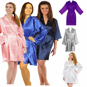 Women-Plain-Satin-Robe-Dressing-Gown-Bridal-Wedding-Bride-Kimono-robe