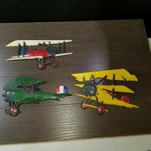 Vtg-1975-metal-airplane-plane-wall-decor-pilot-plaque-lot-3-HOMCO-WWI-Biplane