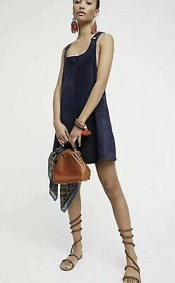 attractive colour authorized site discount up to 60% NEW Free People Suede Leather Michalla Mini Jumper Dress Size XS Blue | eBay