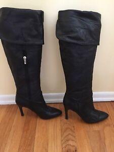 baf293fc62e Enzo Angiolini EAIRINNA over-the-knee stiletto Black Leather Boots ...