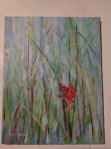 ORIGINAL ART PAINTING OIL ON CANVAS RED FLOWER IN THE MIDST OF GREEN GRASS