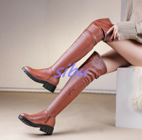 femmes Genuine Leather Over Knee High bottes Side Zip Chunky Heel Creeper chaussures SZ