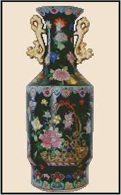 Cross Stitch Chart ORIENTAL BLACK VASE WITH GOLD HANDLES - #25-107 (Large Print)