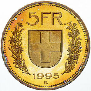 1995-SWITZERLAND-HELVETICA-5-FRANCS-GORGEOUS-COLOR-UNC-GOLDEN-BU-GEM-TONED-MR