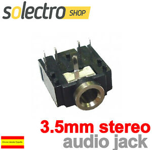25 pcs Audio Conectores Enchufe Jacks negro de 5 terminales 3.5mm hembra estéreo