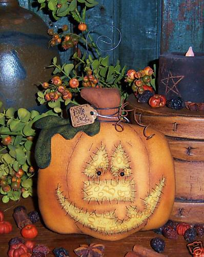 Primitive Halloween Pumpkin Jack Doll Ornie Paper Pattern 478