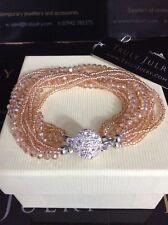 Luxurious Multi Strand Rose Gold & Gold Bracelet With Diamanté magnetic Clasp