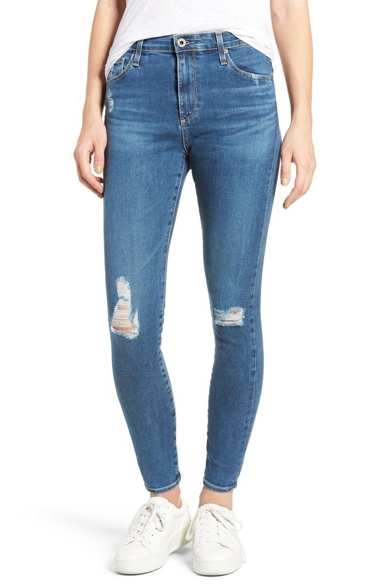 AG Adriano goldschmied Farrah Skinny Ankle Jeans Interim Destroyed Size 26