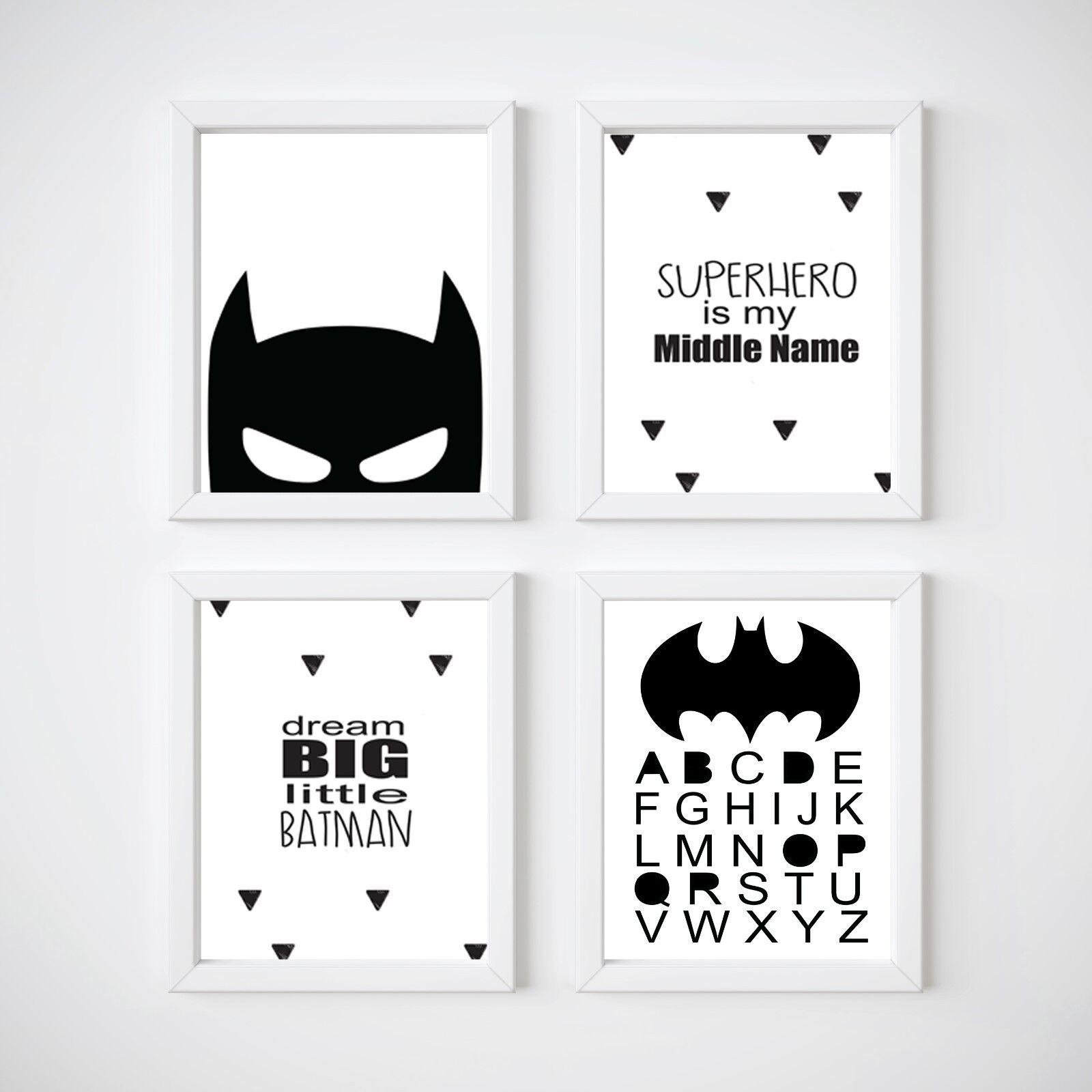 Super Hero Batman Boys Bedroom Art Print Personalised Present Set Of 3 A4 Prints