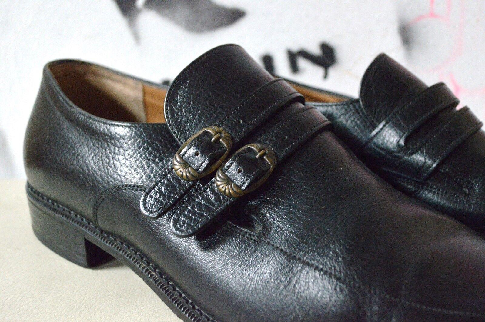 Uomo MOCASSINI FRANCESINE Vintage Fibbie Scarpe 41 True Vintage FRANCESINE loafer Nero 3681b4