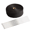2 x 50ft Black Exhaust Heat Wrap Roll for Motorcycle Fiberglass Heat Shield Tape