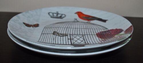 NEW PAPERPRODUCTS DESIGN Set//2 SALAD PLATE Sue SCHLABACH Wild APPLE Bird Flower