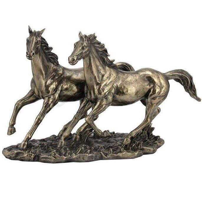 Horses Running Sculpture in Bronze Finish   WU76436A1
