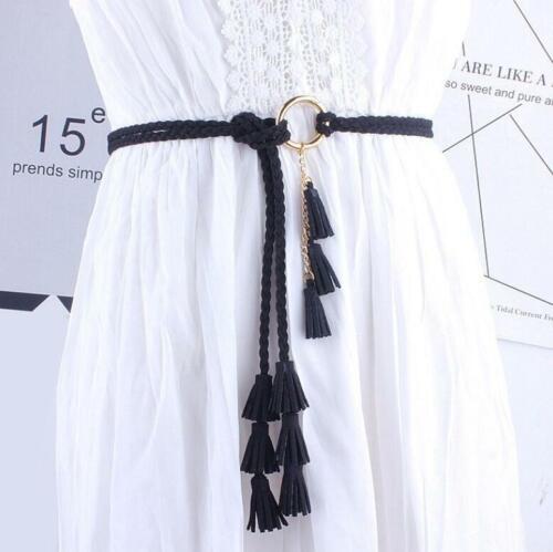 Women Girls Fashion Belts Tassel Ladies Braided Self-Tie Thin Waist Rope Belts