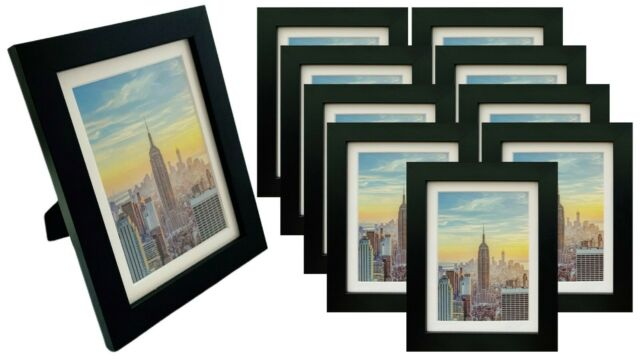 With Picture Mounts SOLID WOOD 6x4 Photo Frames Pack of 3 GLASS Front