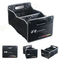 1pcs R-line Black Weaving Clot & Embroidery Auto Trunk Lid Inside Containing Box