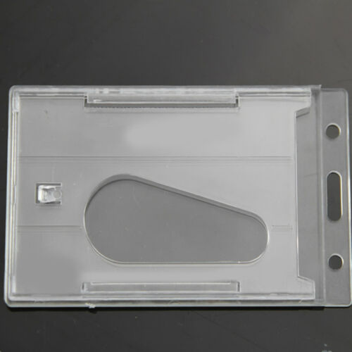 Clear Hard Plastic Work Card Document Holder Badge ID Card Protector Double Side