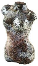 Mirrored Black Mosaic Crackle Glass Mosaic Torso Bust Table Lamp Soft Mood Light