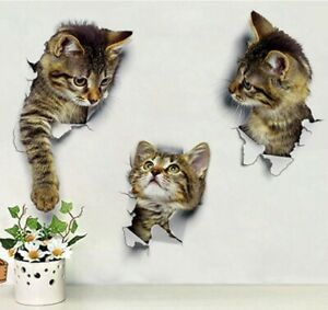 Vinyl-Decal-cute-3D-Cat-Bedroom-Toilet-Restroom-Refrigerator-Wall-Stickers-3-Pcs