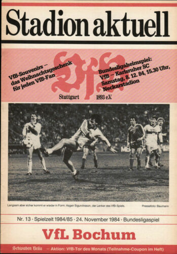 VfL Bochum BL 84/85 VfB Stuttgart 24.11.1984