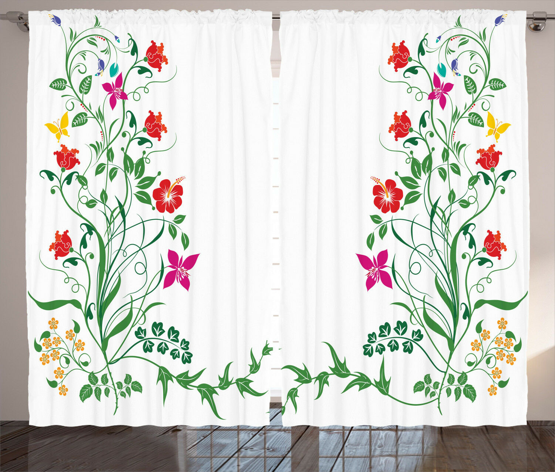 Spring Flower Flower Flower Curtains 2 Panel Set for Decor 5 Größes Available Window Drapes 207989